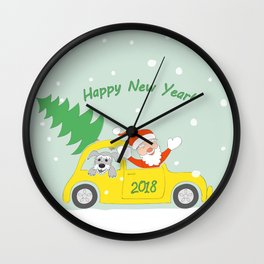 santa, dog and car 2018 Wall Clock