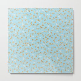 Gold & pearl watercolor leaves on light blu seamless pattern Metal Print