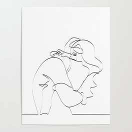 Couple continuous line draw Poster