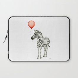 Baby Zebra with Red Balloon Laptop Sleeve