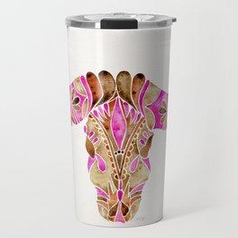 Water Buffalo Skull – Pink & Brown Travel Mug