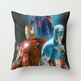 Civil War featuring Captain America, Spiderman, & Ironman Throw Pillow