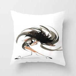 Expressive Ballerina Dance Drawing Throw Pillow