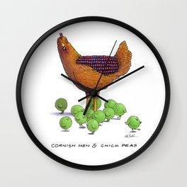 Cornish Hen & Chick Peas Wall Clock