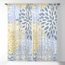 Modern, Floral Prints, Summer, Yellow and Blue Sheer Curtain