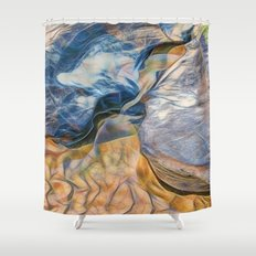 Abstract beautiful rocks on the sand Shower Curtain