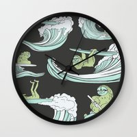 sloths Wall Clocks featuring Surfin' Sloths  by The Art of Shinn