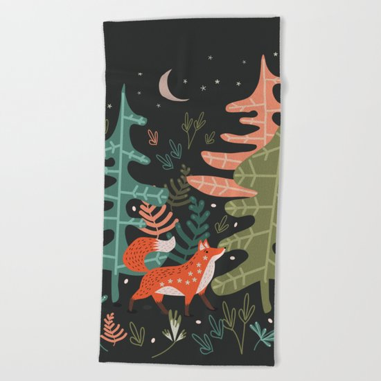 Evergreen Fox Tale Beach Towel