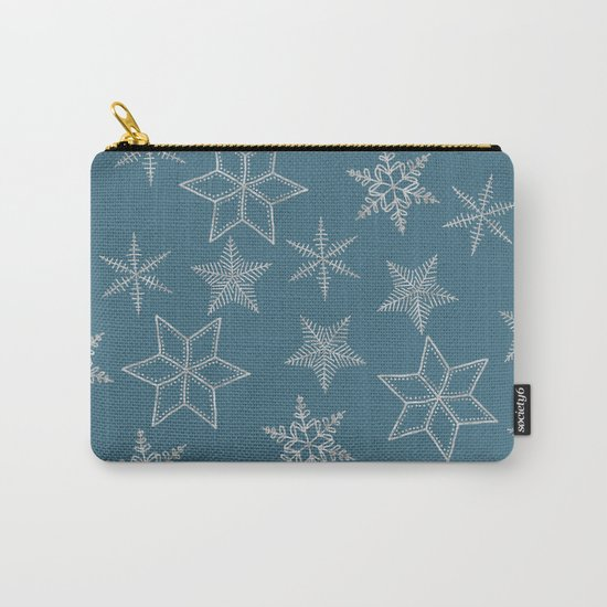 Silver Snowfakes On Teal Background Carry-All Pouch