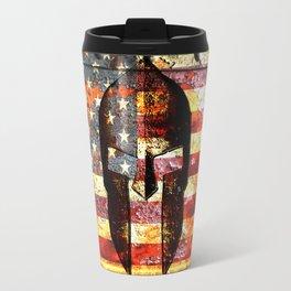 American Flag And Spartan Helmet On Rusted Metal Door Travel Mug