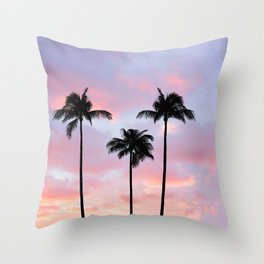 Palm Trees Sunset Photography Throw Pillow