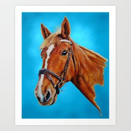Chestnut mare with white blaze. Painting. Art Print