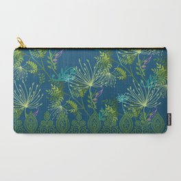 Botanical with Henna Border Navy Carry-All Pouch
