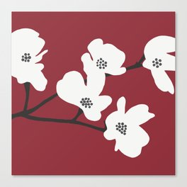 Japanese Anemone Flowers - Red, White and Black Canvas Print