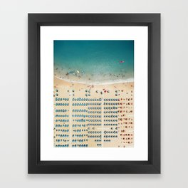 Aerial view of the beach in Rimini, Italy. Framed Art Print