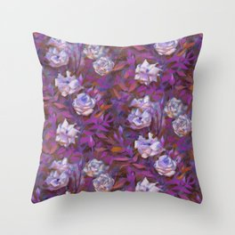 White roses, purple leaves Throw Pillow