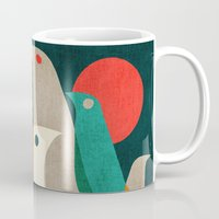 navy Mugs featuring Flock of Birds by Picomodi