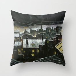 Rainy night in the factories Throw Pillow