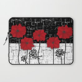 Retro. Red poppies on white background sulfur. Applique. Laptop Sleeve
