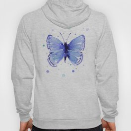 Dark Blue Butterfly Watercolor Hoody