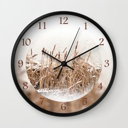 Snow on Typha reeds and frozen water Wall Clock