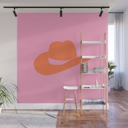 Howdy Pink Cowgirl pink and orange cowgirl hat Wall Mural