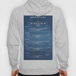 Boeing 747 Family Blueprint in High Resolution (light blue) Hoody