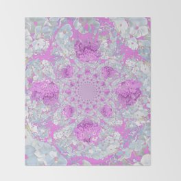 DELICATE LILAC & WHITE PHLOX FLOWERS  ABSTRACT PATTERNS Throw Blanket