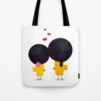 afro Tote Bags featuring Afro Love by Piktorama