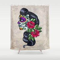 day of the dead Shower Curtains featuring Day of the Dead by redrockit