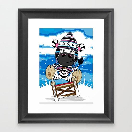 Zebra Sledging Framed Art Print