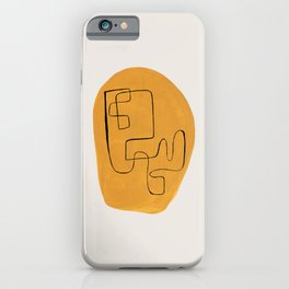 Enshape by Ejaaz Haniff 'Yellow Maze' Mid Century Modern Minimalist Maze Pattern Line Drawing Funky Cool Vintage Style iPhone Case