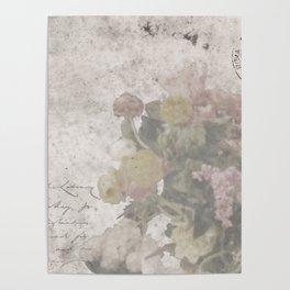 Floral Vintage Postcard bouquet of flowers Poster