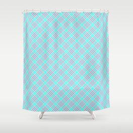 Aqua Blue and Pink Floridian Tartan Check Plaid Shower Curtain