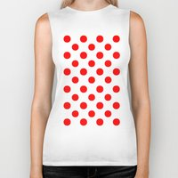 polka Biker Tanks featuring Polka Dots (Red/White) by 10813 Apparel