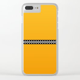 NY Taxi Cab Yellow with Black and White Check Band Clear iPhone Case