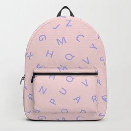 Scattered Alphabet Blue on Pink Backpack