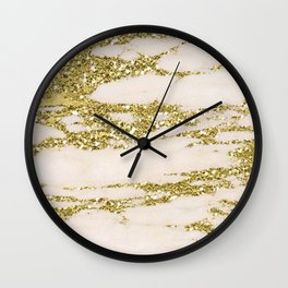 Marble - Gold Marble Glittery Light Pink and Yellow Gold Wall Clock
