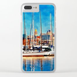 Blue sailing from Baltimore dock Clear iPhone Case