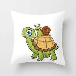 Cute & Funny Snail Riding on Turtle Yelling Wheee! Throw Pillow