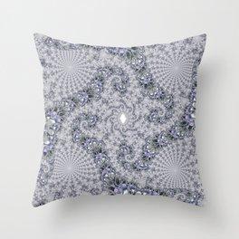 Gray Fractal Spirals Throw Pillow