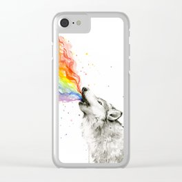 Wolf Howling Rainbow Watercolor Clear iPhone Case