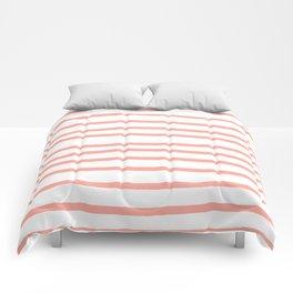 Simply Drawn Stripes Salmon Pink on White Comforters