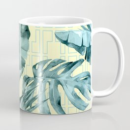 Simply Island Mod Palm Leaves on Pale Yellow Coffee Mug