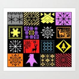 Christmas patterns Art Print