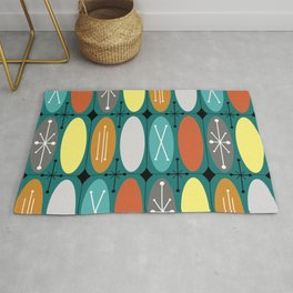 Atomic Era Ovals In Rows Teal Colorful Rug