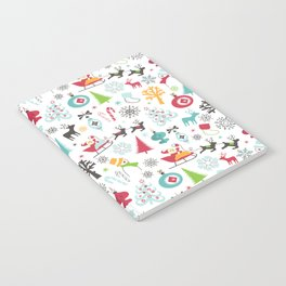 Retro Santa Holiday Christmas Pattern Notebook