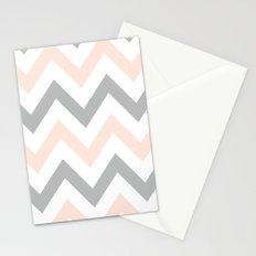 PEACH & GRAY CHEVRON Stationery Cards