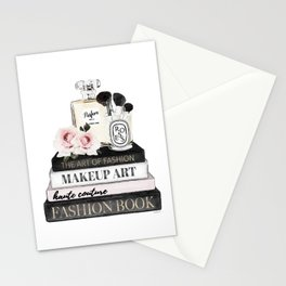 Fashion wall art, Books, Perfume, Roses, Makeup brushes, Blush, pink, Black and white, watercolor Stationery Cards