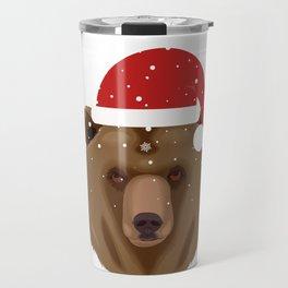 Christmas Bear in Santa Hat Travel Mug